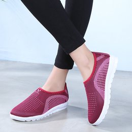 Comfortable Soft Women Shoes Australia - Comfortable mesh running shoes for women Women's Mesh Flat With Cotton Casual Walking Stripe Sneakers Loafers Soft Shoes#g4