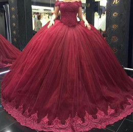 Wholesale Modern Maroon Boat Neck Quinceanera Dresses With Short Sleeves Corset Top Lace Appliques Puffy Prom Reception Gowns Elegant Sweet Dresses