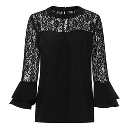 386d86bb0b4 2017 Summer Women Top Long Sleeve Elegant White Lace Blouse Femme Hollow  Out Ladies Office Shirt Transparent Cotton Blusas Mujer Y190510