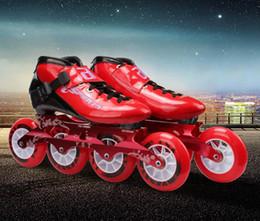Geschwindigkeit Inline Skates Kohlefaser Racing Skating Patines Professionelle 4 * 100 / 110mm Competition Skates 4 Räder mit hoher Qualität im Angebot