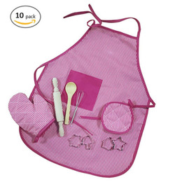 $enCountryForm.capitalKeyWord Australia - Kitchen Toy Kids Chef Set DIY Cooking Baking Suit Toys Set Pretend Play Clothes Apron Gloves Hat Cooker Gift For Kids Girl