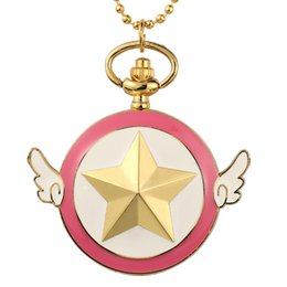 $enCountryForm.capitalKeyWord UK - Wings Star Cartoon Pink Pocket Watches Toy Version Stars Pocket Watch Pendant Necklace Fob Quartz Clock With Chain Kid Cute Gift