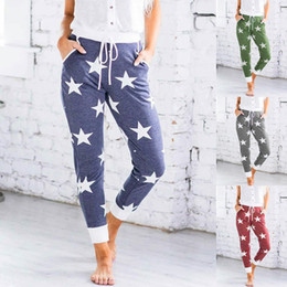 xl womens leggings NZ - Star Floral Womens Trousers Home Sport Solid Color Leggings High Waist Drawstring Summer Womens Designer Sweatpants