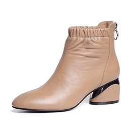 602bec72da9 Genuine Leather ankle boots ladies Spring Autumn New thick with medium high  heel round head back zipper comfortable Booties