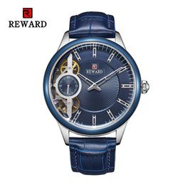 Wholesale Fashion Men s Automatic Watch Waterproof Genuine Leather Hollow Mechanical Watches Men Stopwatch Dress Business Wristwatch Men