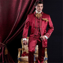 Cotton Embroidery Suits Images Australia - New Embroidery Red Mens Suits Vinatge Groom Tuxedos For Men Groomsmen Wedding Suit Blazer Formal Prom 2019 (Jacket+Pants+Vest)