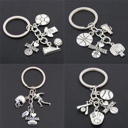 baseball key chains 2019 - New Fashion Alloy Keychain Football Basketball Football Baseball Pendant Key Chain Cheerleaders Holiday Gifts cheap base