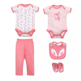 1ecc3984e29b 2019 newborn baby rompers and ribbon pants shoes baby rompers rabit animal  printing full cotton kids toddler suits factory price 5pcs set