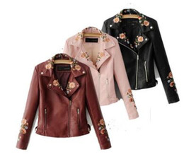 $enCountryForm.capitalKeyWord NZ - 2019 women's embroidered leather autumn and winter clothing flower embroidery lapel motorcycle leather jacket slim short PU leather jacket