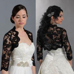 $enCountryForm.capitalKeyWord Australia - Black Lace Bridal Wedding Jacket Coat Applique Long Sleeves Bridal Wrap Bolero Custom Made Cheap High Quality Accessories
