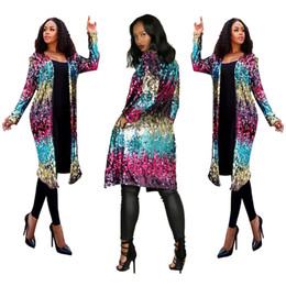 sequined cardigans NZ - Women Designer Long Sequined Cardigan Jacket Spring Autumn Colorful Fashion Jacket Coats Open Stitch