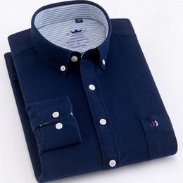 Plain Collar Shirts Australia - Quality Pure Cotton Oxford Plain Solid Men Shirts Fashion Button Collar Long Sleeve Comfortable Soft Regular Fit Casual Male Top