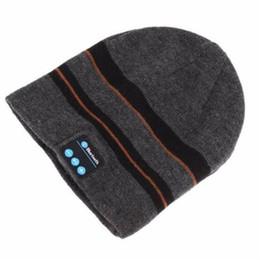 Wireless Headphones Mic Blue Australia - Wireless Bluetooth V4.2 Beanie Knitted Stripes Winter Outdoor Running Hat Headset Mic Headphone Music Headbands Sport Smart Cap
