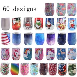 Wholesale 60 Designs Egg Cups Stainless Steel Wine Glass Double deck Vacuum Tumblers With Lid Coffee Mugs Beer Glass Water Bottle Party Bar Drinkware
