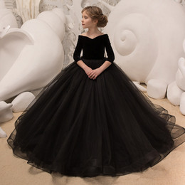 Comunion Dresses NZ - Ball Gown Flower Girl Dresses black Vestidos De Comunion Pageant dress Recital Graduation Dress First Communion Dresses Formal Occasion 162