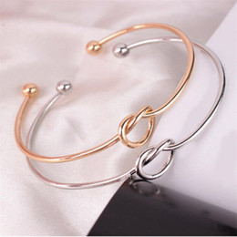 Silver Bangle Bracelet For Girls Australia - 2019 Silver Gold Tone Copper Expandable Open Wire Bangles For love knot Cuff Bracelets & Bangle For Girl