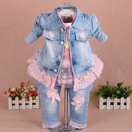 $enCountryForm.capitalKeyWord NZ - New 2017 Girls Clothes Set 3pcs Kids Girl Denim Set Baby Girl Clothing Sets For Birthday Jacket+t Shirt+jeans Clothing Set Y19061303