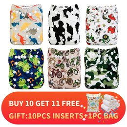 diaper bag inserts NZ - [Mumsbest] Baby Cloth Nappy New Style Pattern 6pcs Lot Diaper +6pcs Microfiber Inserts +Wet Bag Pack Reusable Diapers Lot Saled