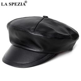96aaeb3c7c858 LA SPEZIA Women Leather Hat Newsboy Caps Genuine Leather Black Flat Cap  Female Vintage British Autumn Winter Fashion Painter Cap