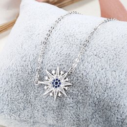 $enCountryForm.capitalKeyWord Australia - girls necklaces sun pendants blue crystal woman's jewelry pure 925 silver bijouterie choker thin chains fashion casual party souvenir 6 pcs