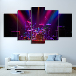 canvas prints free shipping NZ - 5 Piece HD Printed Canvas Art Music Drum Painting Purple Concert Wall Pictures for Living Room Modern Free Shipping