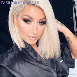 dark purple human hair UK - L 13x4 Blonde Short Bob Wigs Brazilian Straight Synthetic Lace Wig Blonde Lace Front Simulation Human Hair Wig For Women
