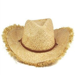 Sun Feather NZ - HOT SALE!Mens Womens Fashion Unisex Feathered Edge Natural Straw Cowboy Sun Hat Cap