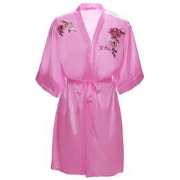 f62c6c12e8 Fashion Rayon Silk Night Robes Embroider Dressing Gown or Sleep Wear  Lingerie for Ladies Girls Bridesmaid Bathrobe
