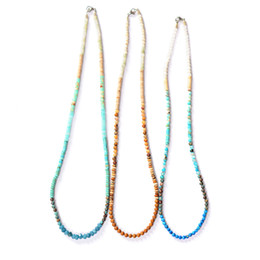 Long beaded neckLace designs online shopping - 3 New Design Bohemia Handmade Multi Color Natural Stone Simple mm Beads Long Necklace Jewelry Gifts S088