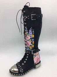 Womens Lace Up Knee Boots Australia - Factory Real Pics Spikes Lace up Embroidery Womens Knight Boots Flat heel Real leather Lace up Motorcycle Boot