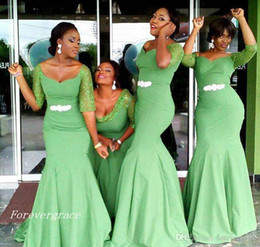 AquA color wedding dresses online shopping - 2019 African Style Aqua Green Bridesmaid Dress Cheap Satin Garden Formal Wedding Party Guest Maid of Honor Gown Plus Size Custom Made