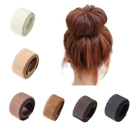 Make Hair Bun UK - M MISM 8.46 inch 21cm Women Girls French Grace Donut Hair Bun Maker Disk Curler Roller DIY Hair Styling Making Tools Accessories