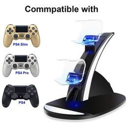 Controllore caricatore PS4 LED Dual Dock di ricarica USB Monti sta per PlayStation 4 PS4 Slim Pro gioco controller di gioco wireless in Offerta
