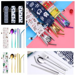 korean dinnerware UK - new 7 Pieces Portable Dinnerware Straw Set Korean Cutlery Set Stainless Steel Tableware Set Kitchen Tools With Cloth bag T2I5219