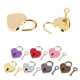 Heart Shaped Handbags Wholesale Australia - Heart Shape Padlocks Vintage Old Antique Style Mini Archaize Key Lock With key For handbag small luggage bag accessories Door Locks 4808
