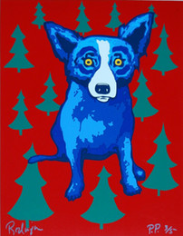 wrapped canvas prints Australia - George Rodrigue Blue Dog Wrap Me Up For Christmas Home Decor Handpainted &HD Print Oil Painting On Canvas Wall Art Canvas Pictures 200112