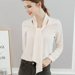ties long NZ - Spring and Summer Trendy Long Sleeve Shirt Women's Top and Tie Modified Pullover Chiffon Shirt, Body-Shaping Fashion Pure-Color Leisure Top