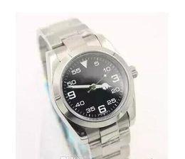 мужские часы ремешок из нержавеющей стали AIR KING черный циферблат с зеленой стрелкой с автоматическим механизмом сапфировое стекло зеркало мужские часы на Распродаже