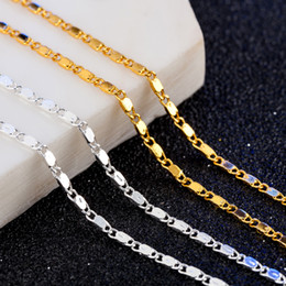 Man Chain Silver Gold NZ - Gold silver necklace Unisex Flat snake Link Chain Lobster Clasp collares necklaces for women men