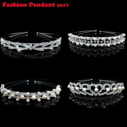 Wholesale New Shiny Crystal Rhinestone Pearl Headband Wedding Bridal Silver Hairwear Party Girls Tiara Flower Hair bands Hair Accessories