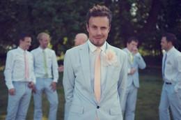 Discount light beige skinny suit - Latest Coat Pant Designs Light Blue Bridegroom Wedding Men Suit 2Pieces(Jacket+Pant+Tie) Masculino Trajes De Hombre Blaz