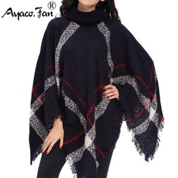 Ladies thick winter poncho online shopping - Winter Sweater Women Knitted Poncho Turtleneck Ladies Scarf Thick Warm Sweaters and Pullovers Plus Size Poncho and Capes
