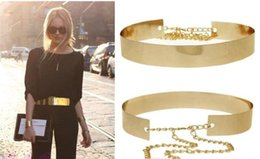 Silver Chain Waist Belt NZ - Fashion Women Full Gold Silver Metal Mirror Waist Belt Metallic Gold Plate Wide Obi Band With Chains