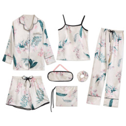 robe pattern sexy Australia - NEW 2020 SEXY 100% SOFT SILK 7 PCS ROBE SETS DIFFERENT PATTERN M-XL 7 COLOUS LADIES SLEEPWEAR SET FREE SHIPPING