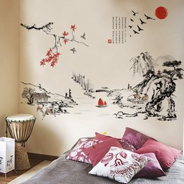 Landscapes For Wall Stickers Australia - Chinese style Ink painting landscape art Wall Stickers Living room Bedroom background for home decoration Mural Decals wallpaper D19010902