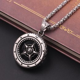 Rocker Pendants NZ - Silver Car Wheel Rim Pendant Necklace Racing Necklace Stainless Steel Rocker Punk Tire Necklace with Roman Numerals Design