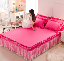 $enCountryForm.capitalKeyWord NZ - Princess Lace Bedspreads Fitted Sheet 1 3pcs Solid Color Bedding Bed Skirt Pillowcases Girls Ruffles Mattress cover Home Textile