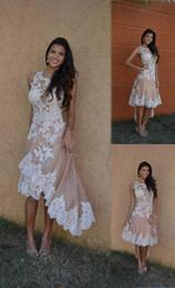 $enCountryForm.capitalKeyWord Australia - White Lace Champagne Satin Short Front Long Back Wedding Dresses Bridal Gowns Jewel Sheer Neck Applique High Low Designer Cheap Wedding Gown