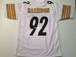 football jerseys 92 Canada - Cheap Retro custom Sewn Stitched #92 James Harrison White MITCHELL & NESS Jersey High-end Men's Football Jerseys College NCAA