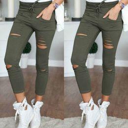 $enCountryForm.capitalKeyWord Canada - S-4XL Women Skinny Jeans Girls Pants Holes Knees Pencil Pants Casual Black White Elastic Shredded Jeans
